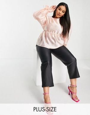 Fashion Union Plus smock drop with tie sleeves in pink organza