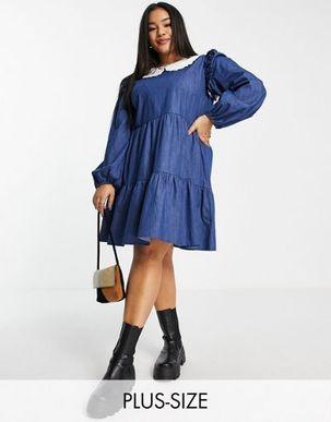 Outrageous Fortune Plus denim mini dress white collar in blue