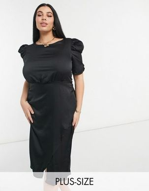 Outrageous Fortune Plus satin midi dress with tie waist in black-Green