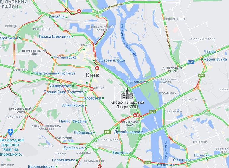 Пробки на мостах Киева / google.com/maps