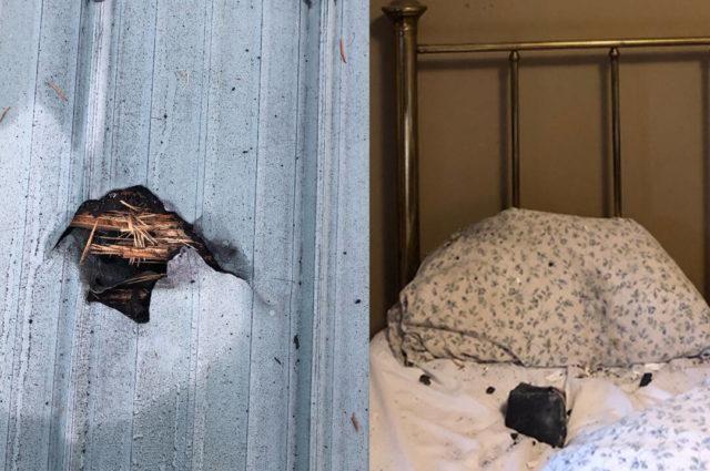 Метеорит пробил крышу и приземлился на подушку / фото Ruth Hamilton