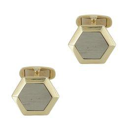 Κίτρινα Χρυσά Μανικετόκουμπα με Λευκόχρυσες Λεπτομέρειες Κ14 MANK142