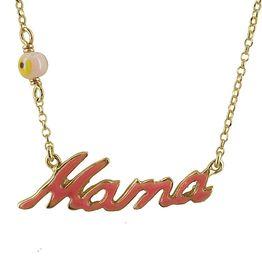 Ασημένιο Επιχρυσωμένο Κολιέ Mama KL422