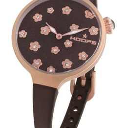 HOOPS Icon Flowers Crystals Rose Gold Brown Rubber Strap 2562LF07