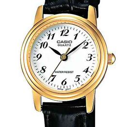 CASIO Collection Gold Case Black Leather Strap LTP-1236PGL-7BEF