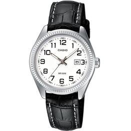 CASIO Collection Black Leather Strap White Dial LTP-1302PL-7BVEF