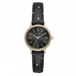 ARMANI EXCHANGE Lola Crystals Gold Black Leather Strap AX5543