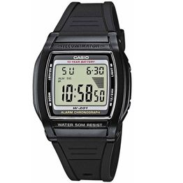 CASIO Collection Black Rubber Strap W-201-1AV