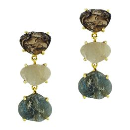 Σκουλαρίκια Κρεμαστά από Επιχρυσωμένο Ασήμι με Ορυκτές Πέτρες SK1296