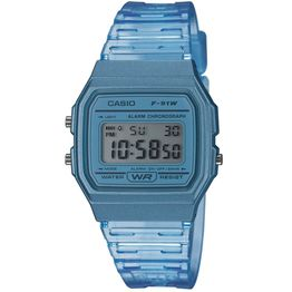 CASIO Collection Chronograph Light Blue Rubber Strap F-91WS-2EF