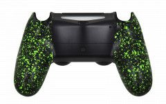 PS4 Controller Rubberized Green Back shell