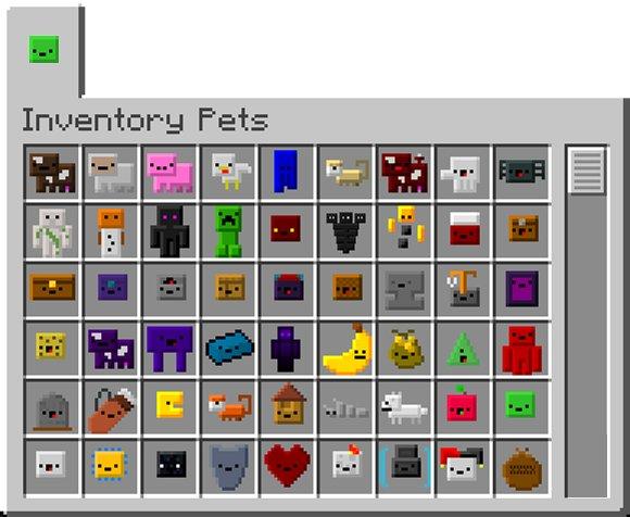 inventory pets animowane pupile w plecaku minecraft