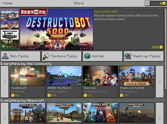 minecraft rynek Marketplace UI