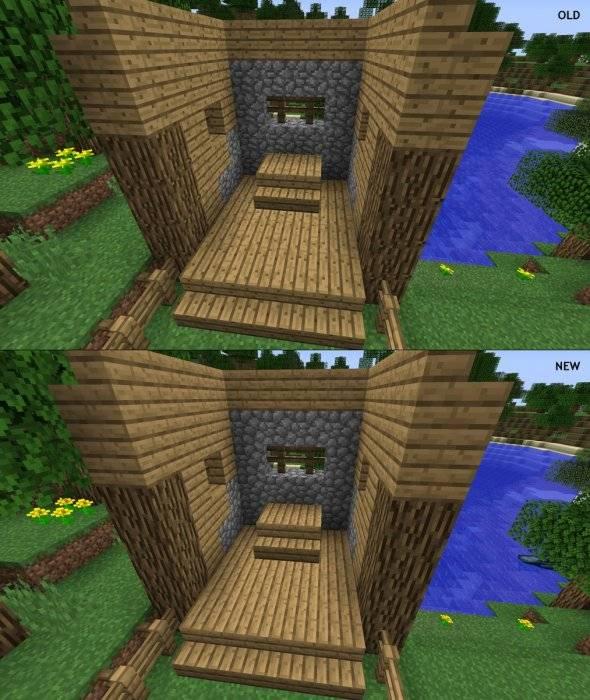 tekstura lisci minecraft 1.13 porownanie bruku desek drewna