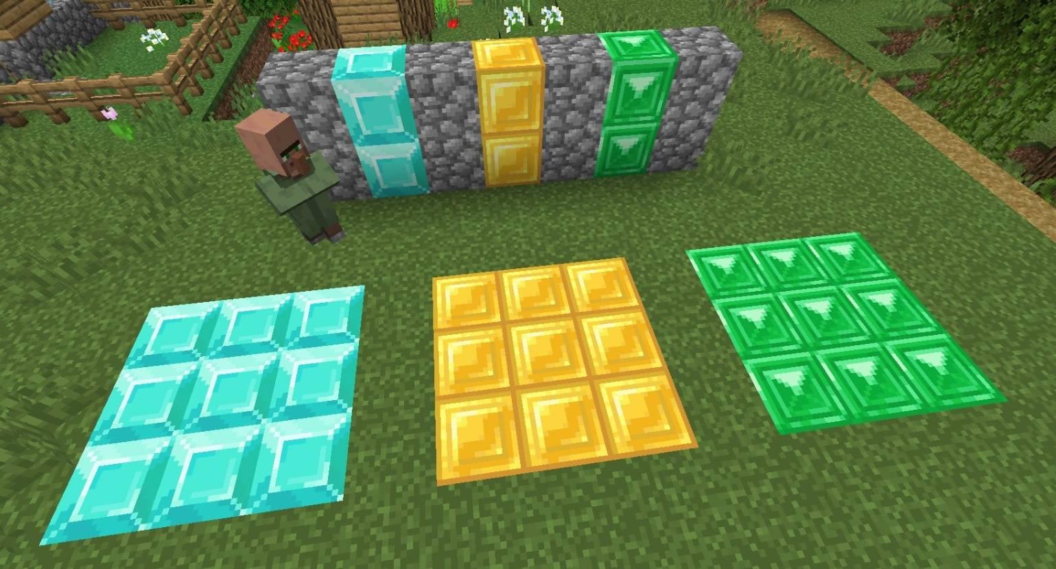 nowe tekstury diamentow emeralodow zlota minecraft 1.13