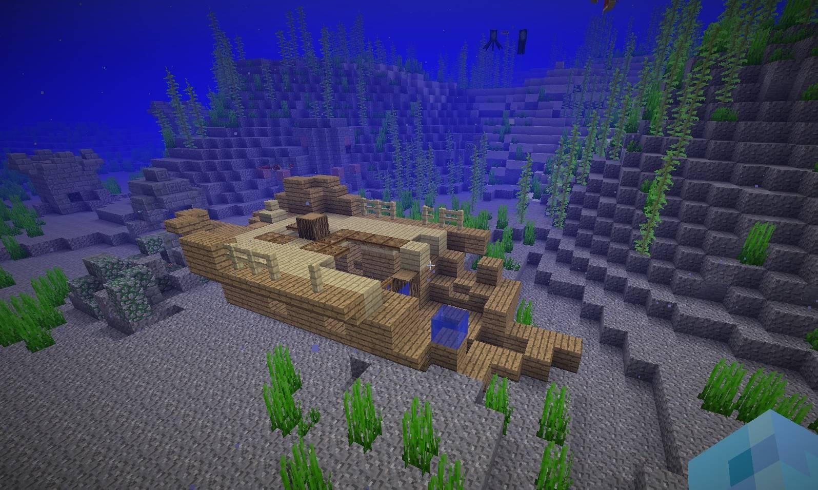 zatopiony statek wrak pod woda ocean minecraft 1.13 img1