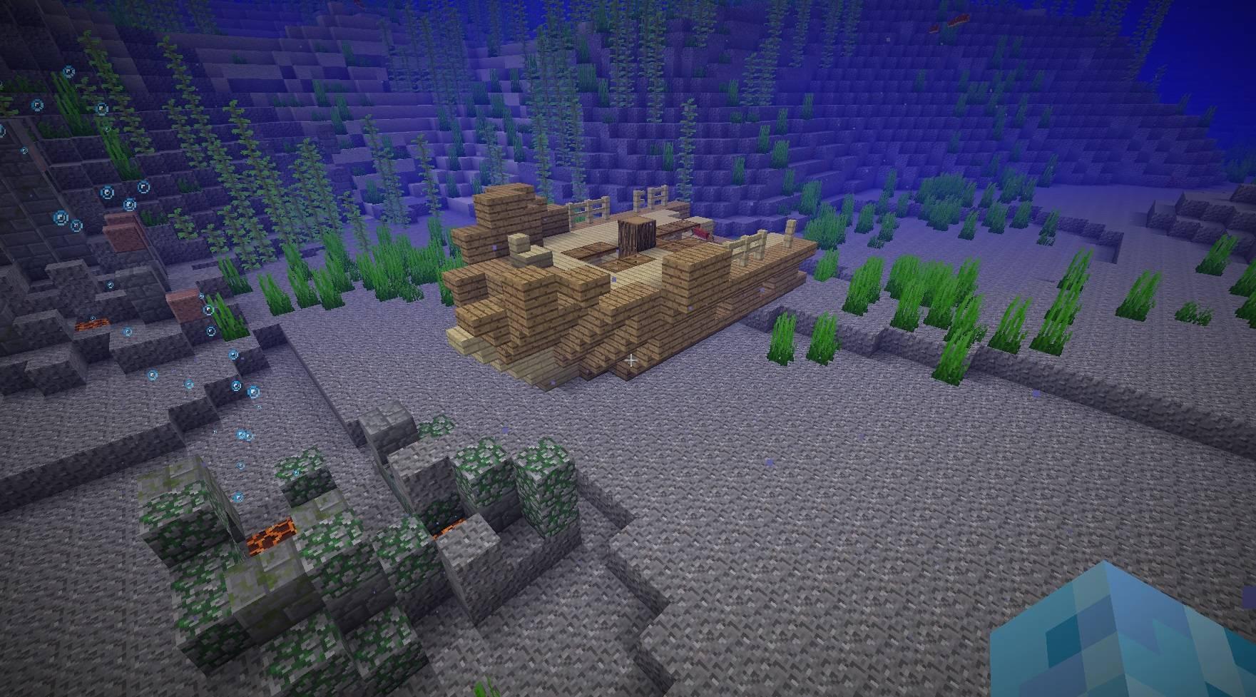 zatopiony statek wrak pod woda ocean minecraft 1.13 img2