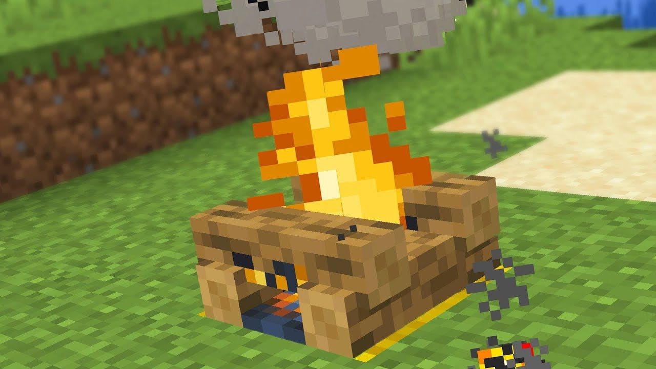 Ognisko podpalone przy pomocy płonącej strzały
