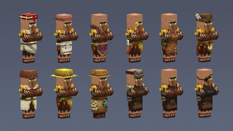 nowe typy villagerow mieszkancow wiosek minecraft 1.14