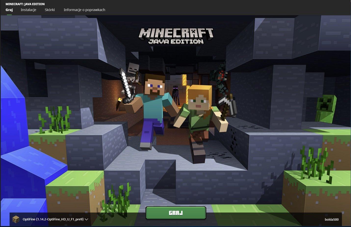 minecraft launcher zakladka graj
