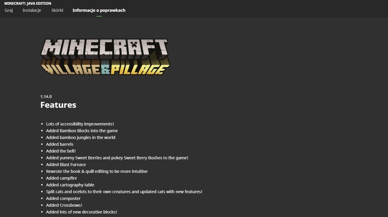 minecraft launcher zakladka lista poprawek aktualizacji gry