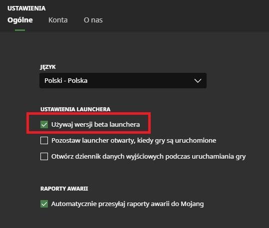 minecraft launcher zakladka ustawienia wybor wersji launchera