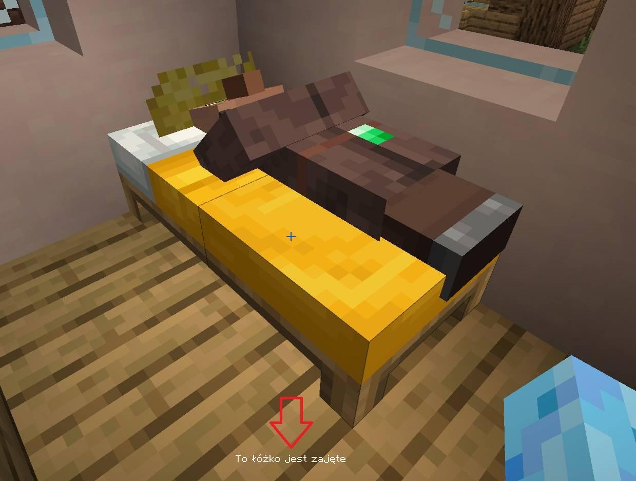 zajete lozko w minecraft przez villagera