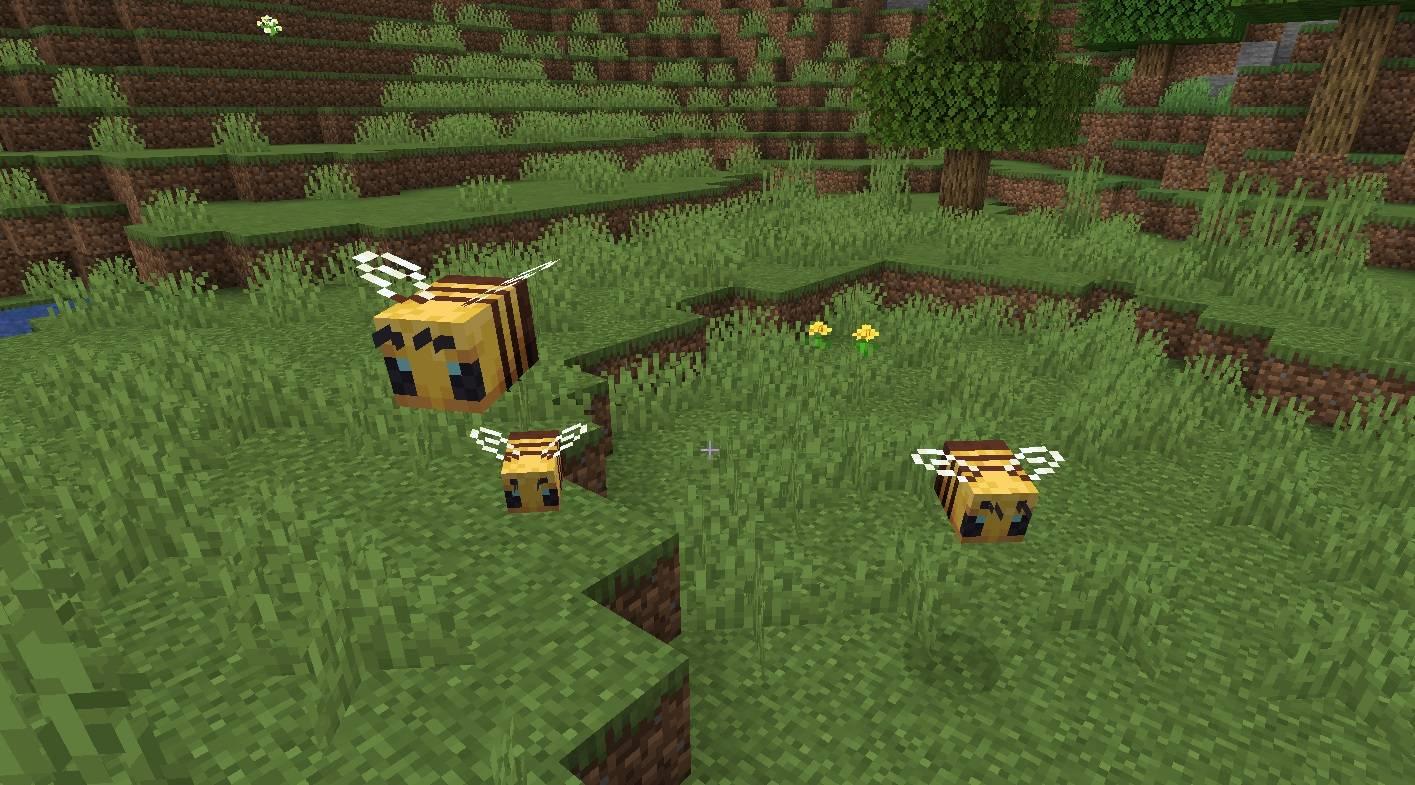 dorosle pszczoly i mala pszczola minecraft