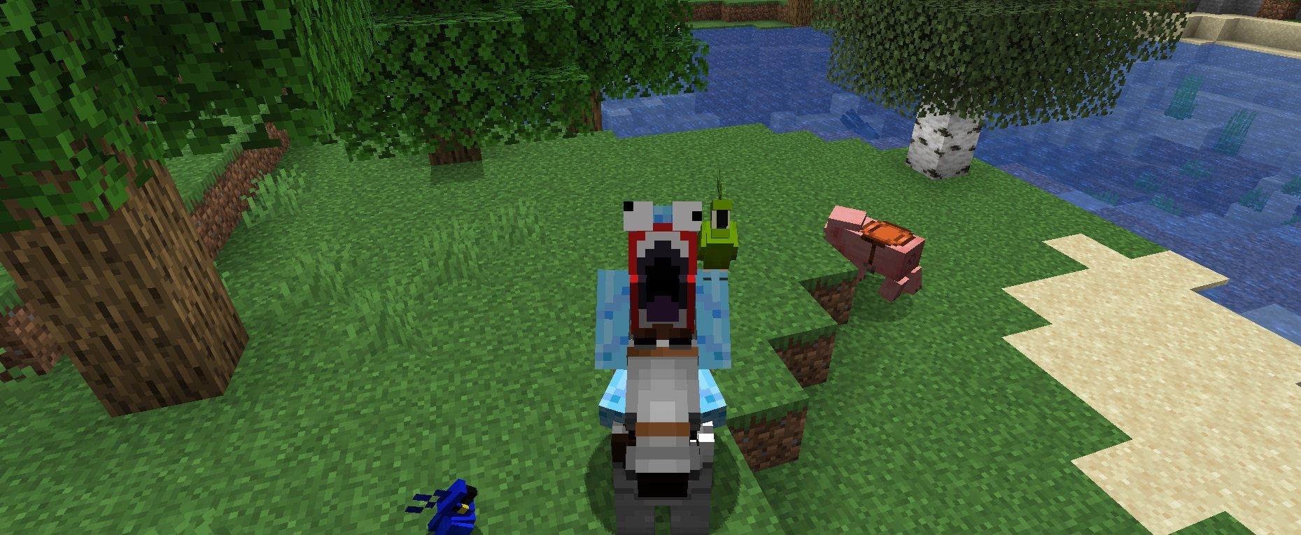 papuga na ramieniu podczas jazdy na koniu minecraft