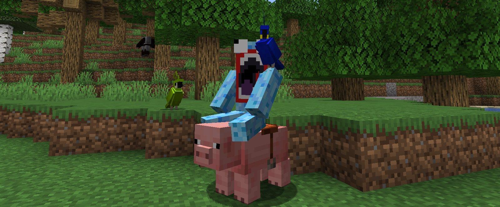 papuga na ramieniu podczas jazdy na swini minecraft