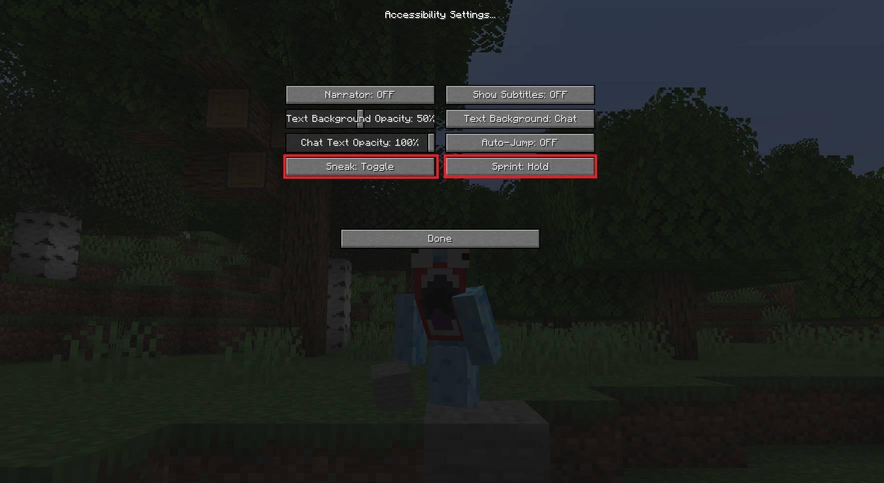 sterowanie kucanie sprint minecraft 1.15 aktualizacja