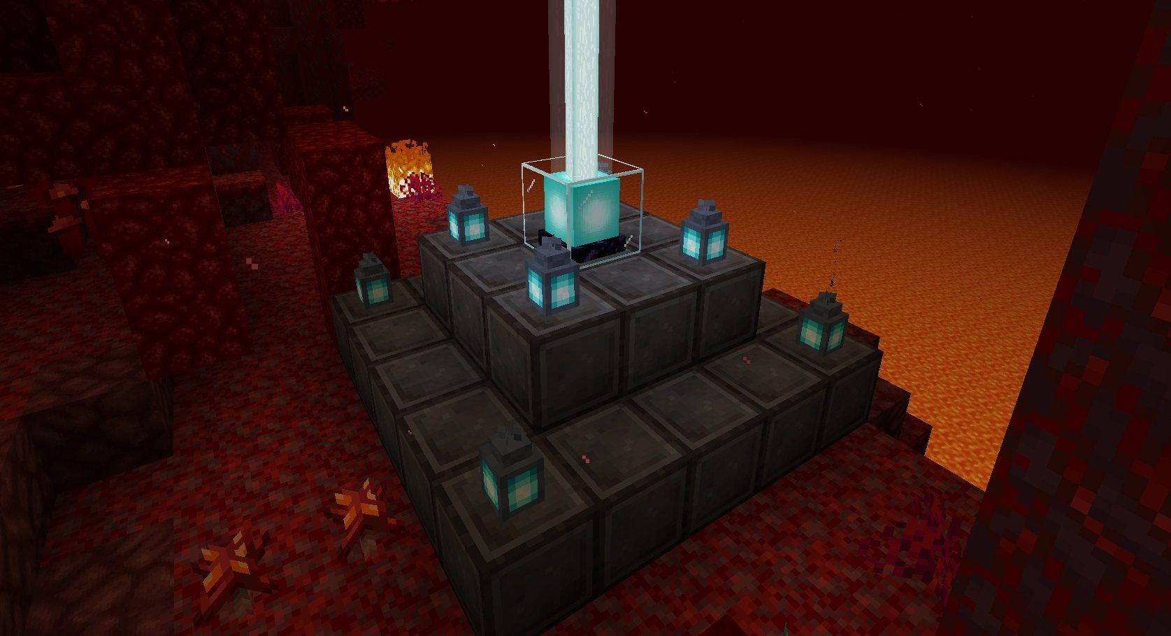 beacon in nether magiczna latarnia z netherytu minecraft 1.16