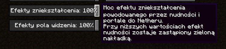 efekty znieksztalcenia i pola widzenia minecraft 1.16.2