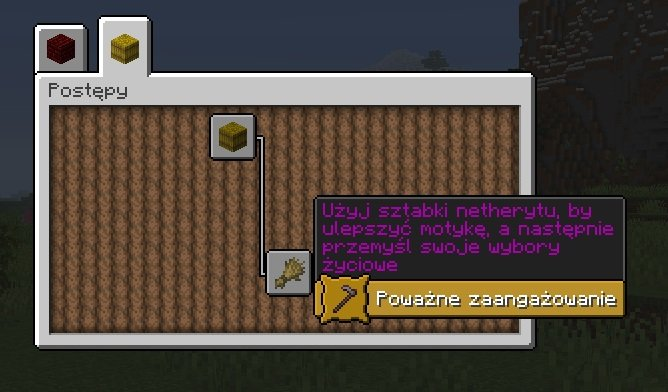 minecraft postepy motyka netherytowa