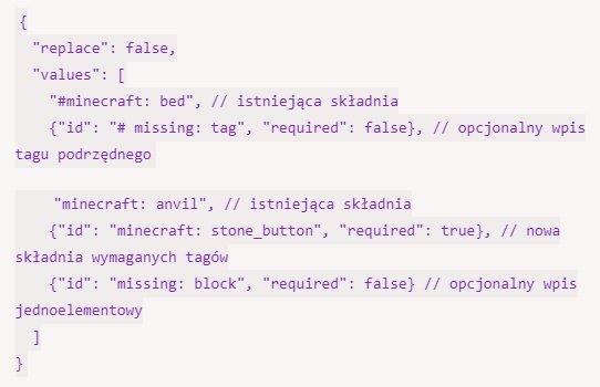 opcjonalne parametry tagi minecraft 1.16