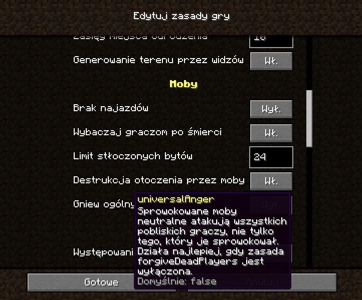 opisy zasad gry w minecraft 1.16
