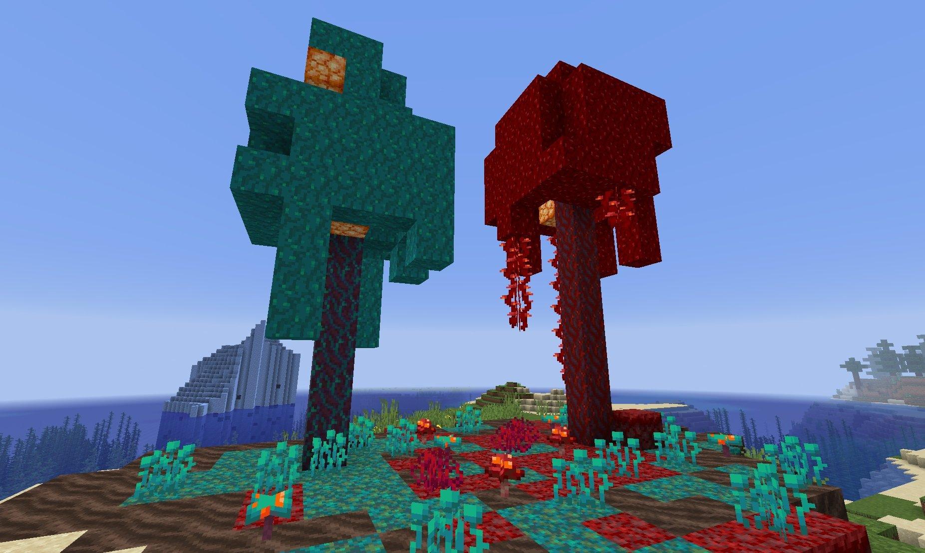 szkarlatne wypaczone grzyby lasu netheru minecraft