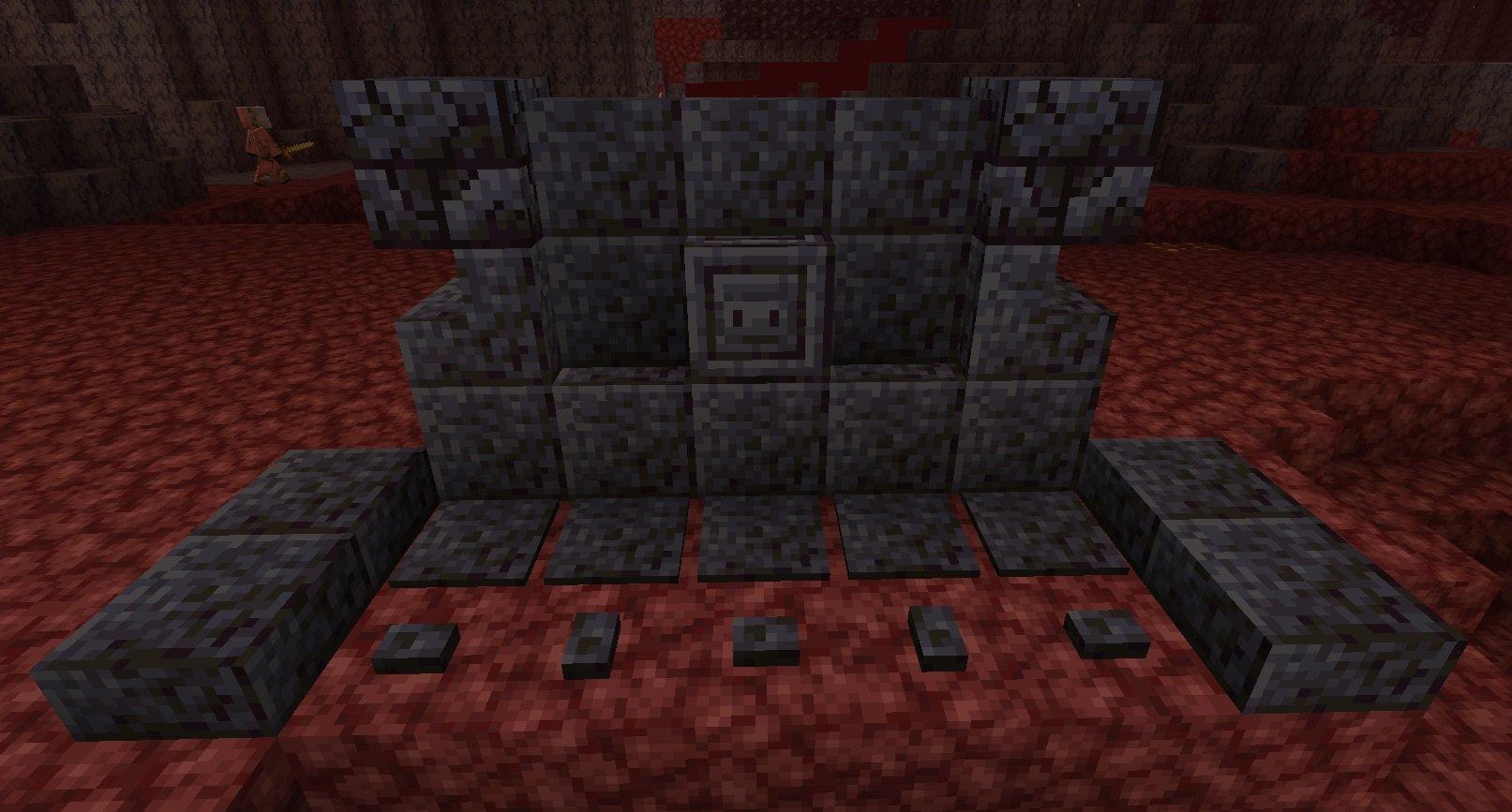 wypolerowane odmiany ciemnych kamieni plyty schody murki minecraft