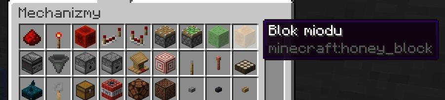 blok szlamu i miodu w mechanizmach menu kreatywne minecraft 1.17