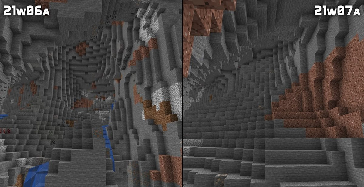 dioryt andezyt granit nowa generacja jaskin snapshot 21w07a minecraft