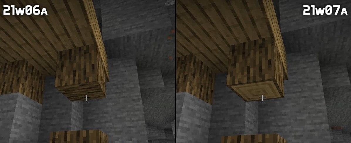 filary z drzewa podtrzymujace kopalnie snapshot 21w07a minecraft