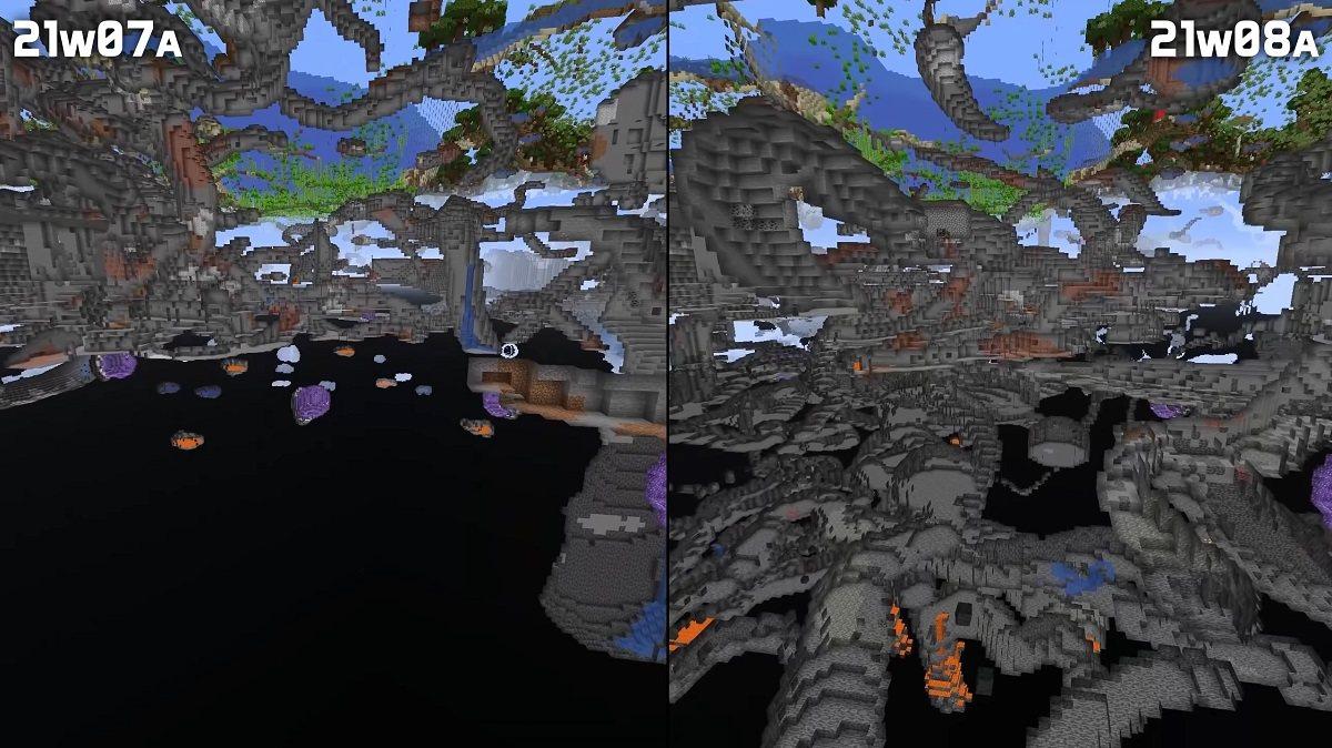 jaskinie spagetti ponizej poziomu 0 minecraft 1.17
