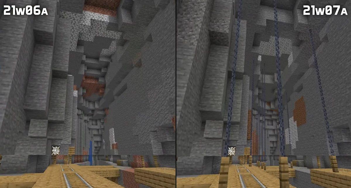 lancuchy podtrzymujace kopalnie snapshot 21w07a minecraft