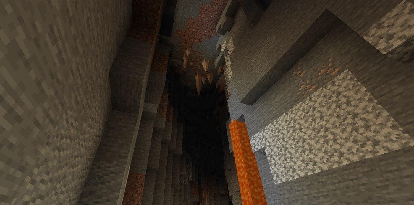 stalaktyty zwisajaca z sufitu w jaskini minecraft