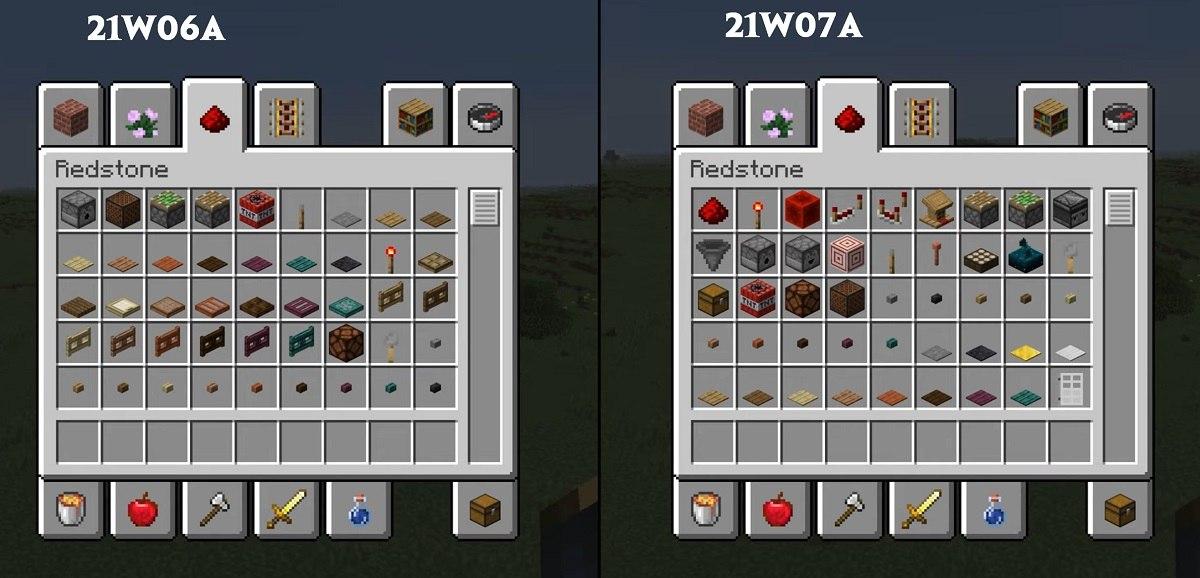 zmiany w menu kreatywnym dla redstone snapshot 21w07a minecraft