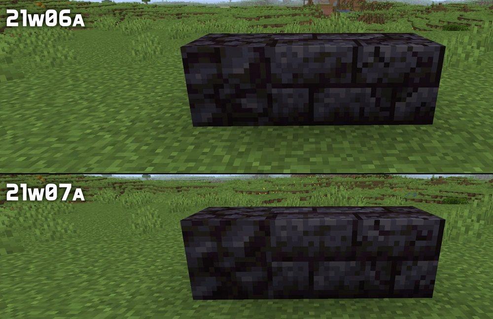 zmienione tekstury czarnych kamieni polerowanych warianty rud snapshot 21w07a minecraft