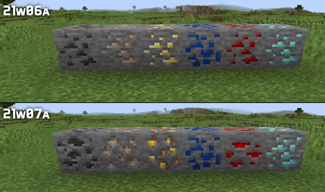 zmienione tekstury wszystkich rud snapshot 21w07a minecraft