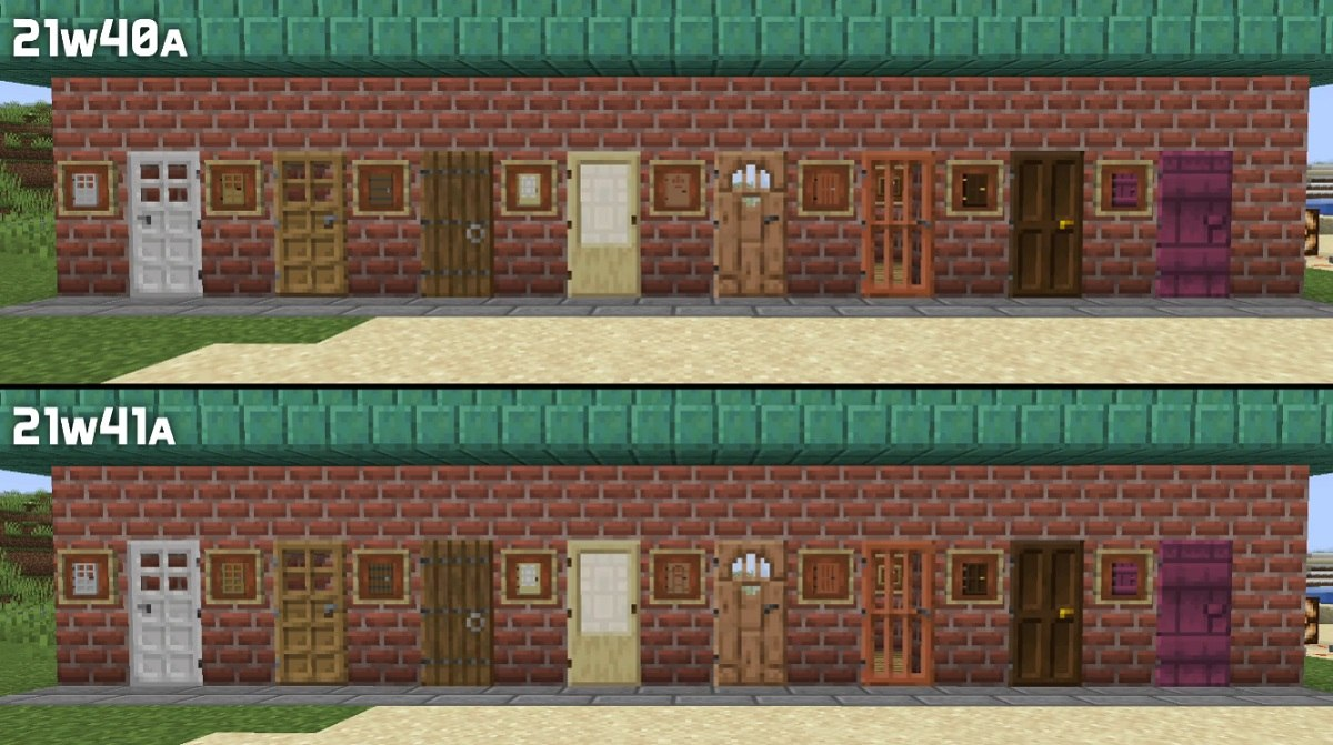 snapshot 21w41 tekstury drzwi minecraft 1.18