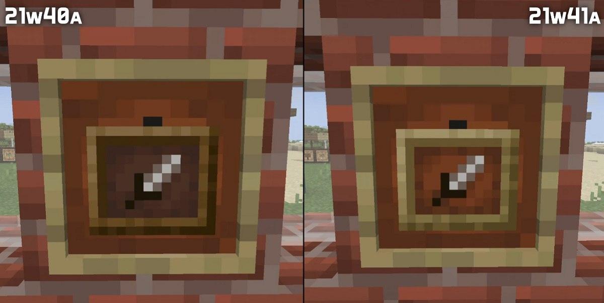 snapshot 21w41 tekstury ramaki na przedmioty