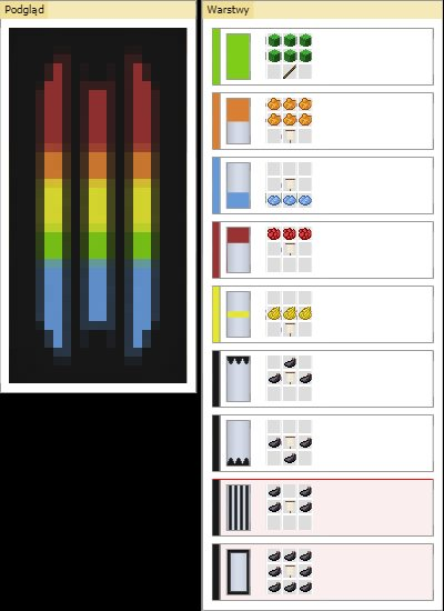 5 kolorowych pasow baner minecraft